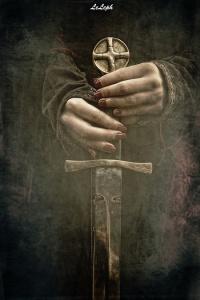 woman warrior holding sword